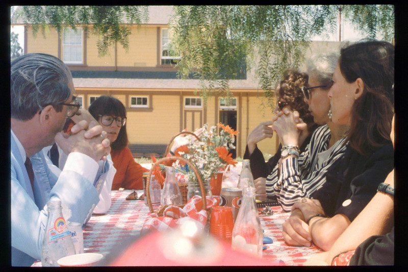 Santa Barbara's museum directors meet at the railroad museum, take a train ride, 8/11/1993. The luncheon was hosted by Cox Communications. acc2005.001.1789