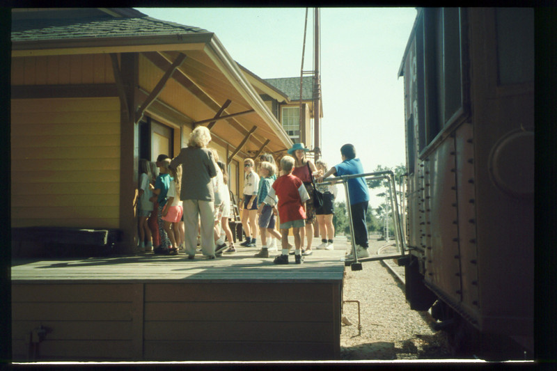 Cox Cable began sponsoring free train rides for visiting school groups in Oct. 1993. acc2005.001.1906