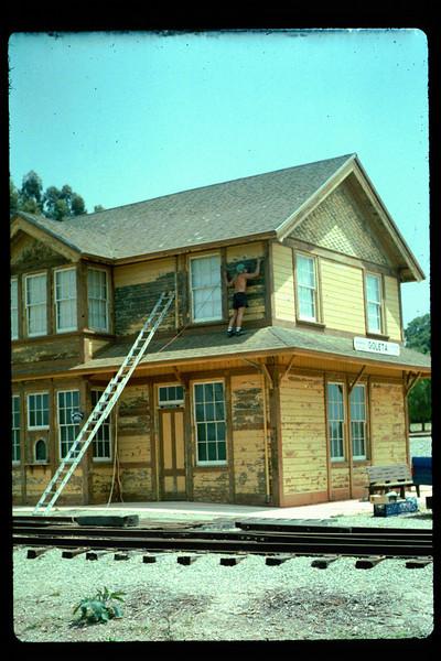 Goleta Depot gets a new coat of paint, 1992. acc2005.001.1617
