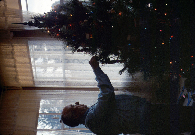 Earl Hill helps decorate the museum Christmas tree, 12/1986. acc2005.001.0657