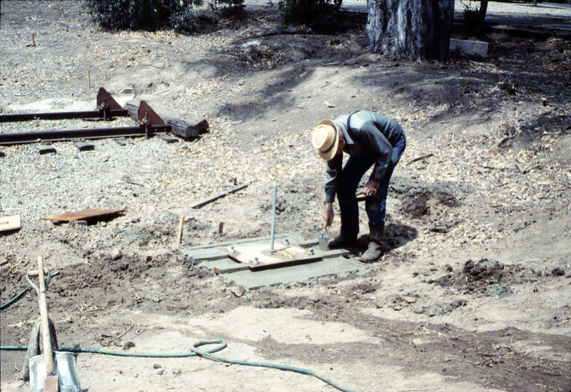 Pouring the slab for the wig-wag signal (Al Volkman), 5/1989. acc2005.001.1160