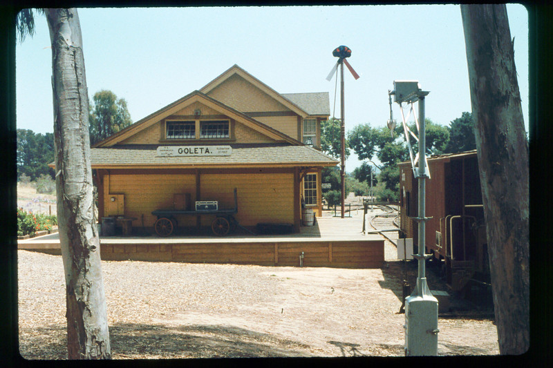 Goleta Depot (north end) and caboose, 1991. acc2005.001.1496