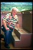Volunteer Ken Weber built this step in the Model Railroad Exhibit for our young visitors, 1998. acc2005.001.2159