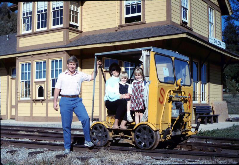"Warren Johnson, who donated this inspection car (""speeder"") to the museum, with his family, 1/17/1987 acc2005.001.0673"