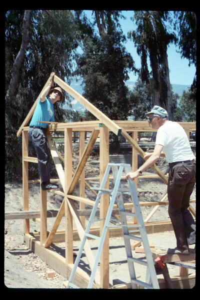 Construction of miniature-train shed (Jim Allen & Gene Allen), 6/1990. acc2005.001.1354