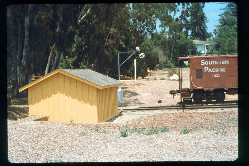 Train shed, wig-wag (operating) and caboose, 1991. acc2005.001.1501