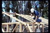 Gene Allen and Ralph Moore work on the miniature-train shed, 6/1990. acc2005.001.1360