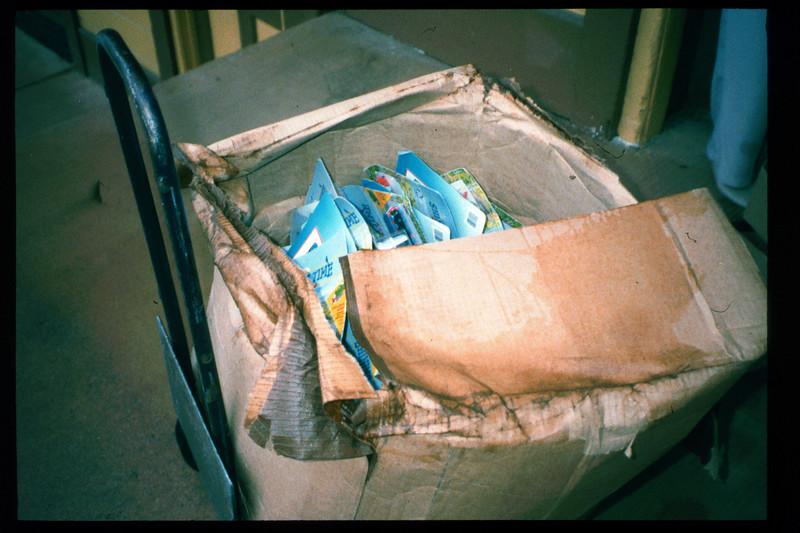 Museum receives store merchandise damaged in shipment, 1996. acc2005.001.2121