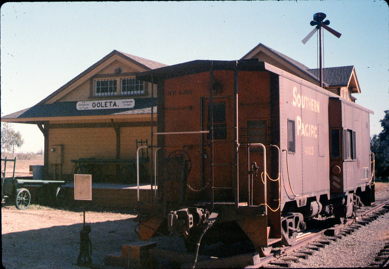 Caboose 4023 at its new home in front of Goleta Depot, Fall 1986. acc2005.001.0651
