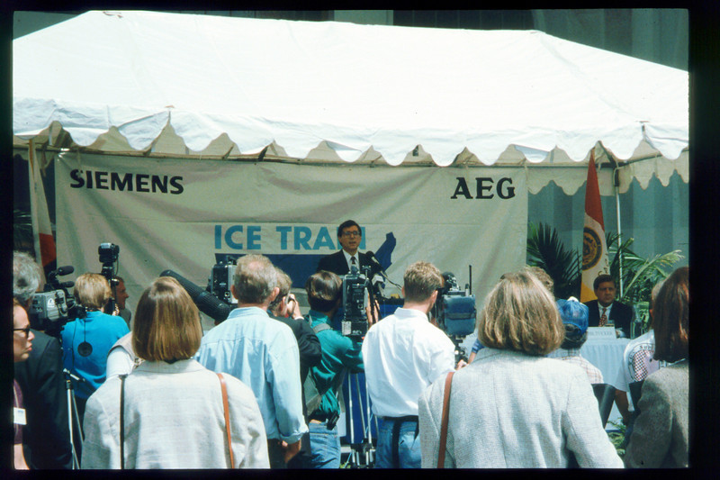 Museum Director Gary Coombs and Assistant Director Phyllis Olsen were guests of Amtrak on a demonstration run of the German ICE (Inter-City Express) train, Aug. 30, 1993. acc2005.001.1866