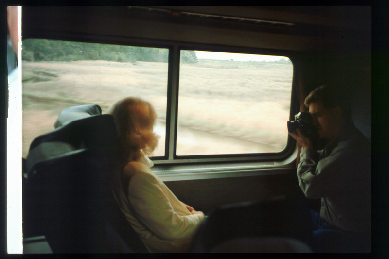 Museum Director Gary Coombs and Assistant Director Phyllis Olsen rode the inaugural cross-country Sunset Limited train, Los Angeles-to-Miami and return, as guests of Amtrak, March 28-April 6, 1993. acc2005.001.1778