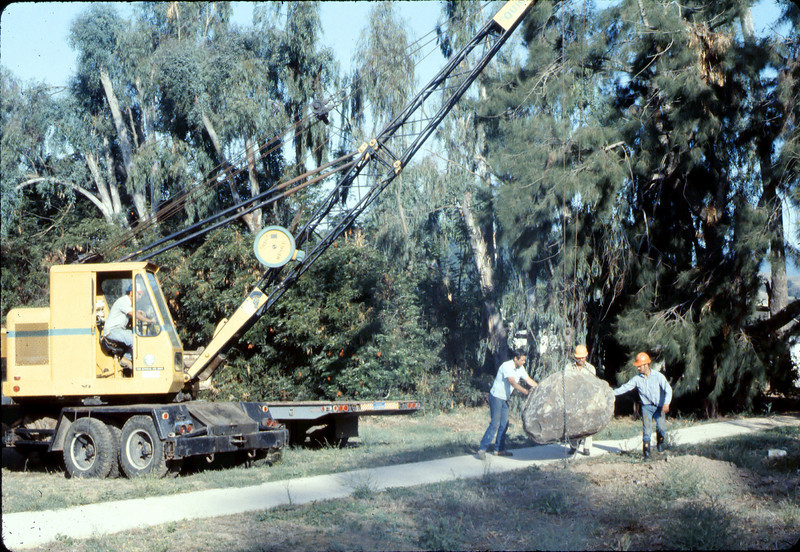 County of Santa Barbara Flood Control crew moves rock for Native Sons plaque, 9/1983.. acc2005.001.0408