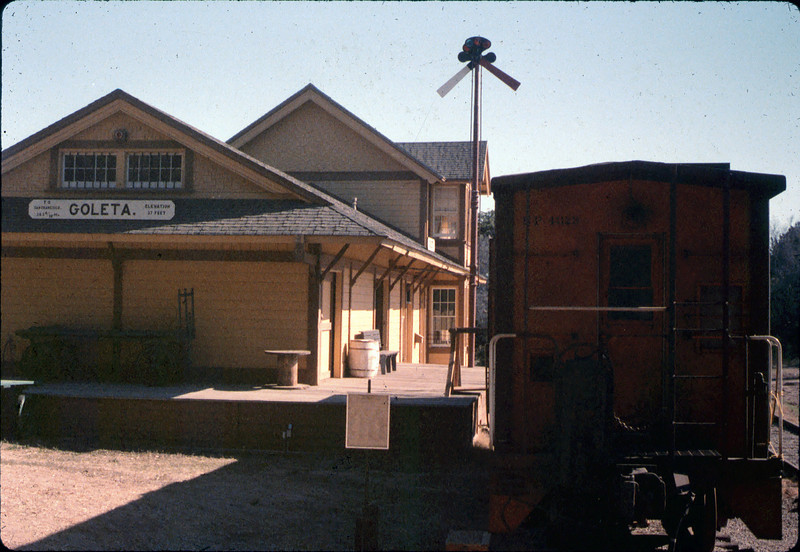Caboose 4023 at its new home in front of Goleta Depot, Fall 1986. acc2005.001.0652