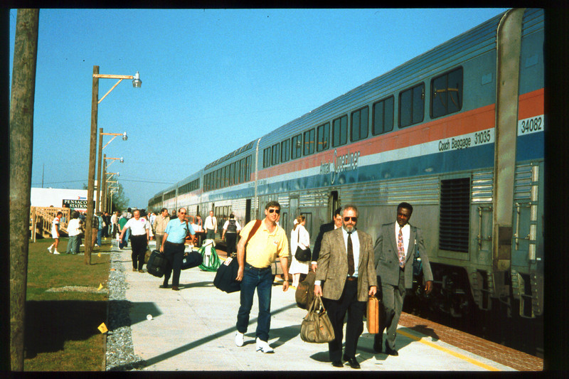 Museum Director Gary Coombs and Assistant Director Phyllis Olsen rode the inaugural cross-country Sunset Limited train, Los Angeles-to-Miami and return, as guests of Amtrak, March 28-April 6, 1993. acc2005.001.1733
