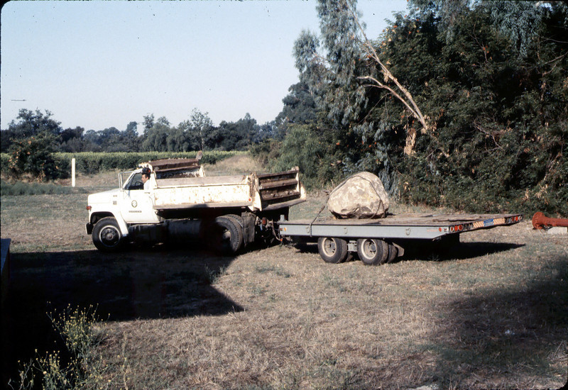 County of Santa Barbara truck and crew deliver rock for Native Sons plaque, 9/1983. acc2005.001.0403