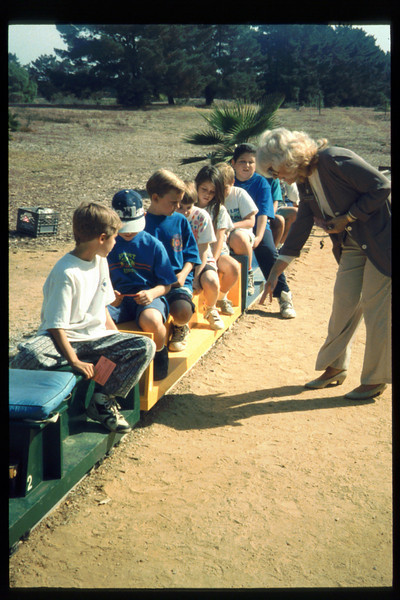 Cox Cable began sponsoring free train rides for visiting school groups in Oct. 1993. acc2005.001.1909