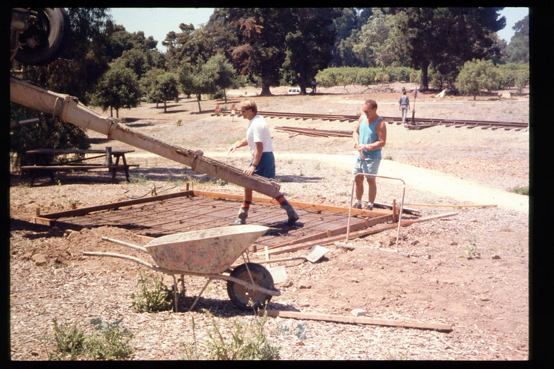 The Goleta Lions Club commissioned the construction of an 11x14-foot pad near the flagpole, to be used for the preparation and sale of food during special events, or for other museum activities, 1994. acc2005.001.1947