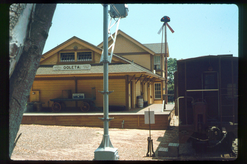 Goleta Depot (north end) and caboose, 1991. acc2005.001.1497