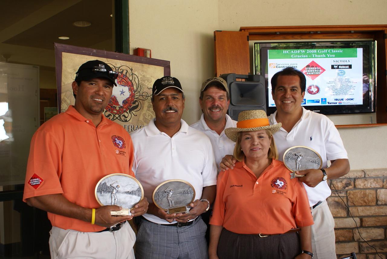 Rocky Duron & Associates, Inc. Team - Takes Home 2nd Place (Ruben Duron; Amadeo Perez; Charlie Devol and Marcus Duron with HCADFW Chairman Pat Gorman)