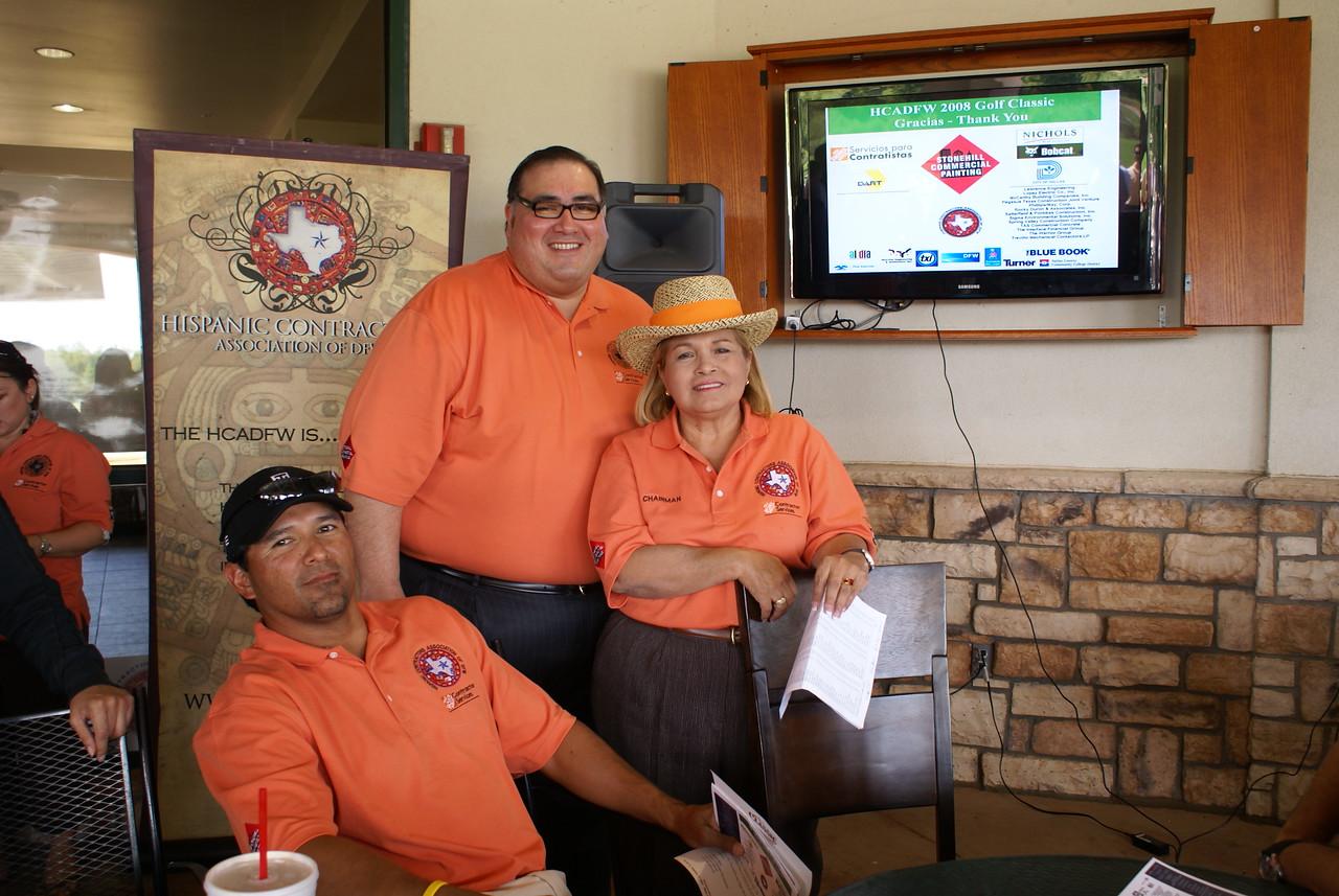 Ruben Duron, HCA Golf Chair; John H. Martinez-D. HCADFW President; and Pat Gorman, HCA Board Chair
