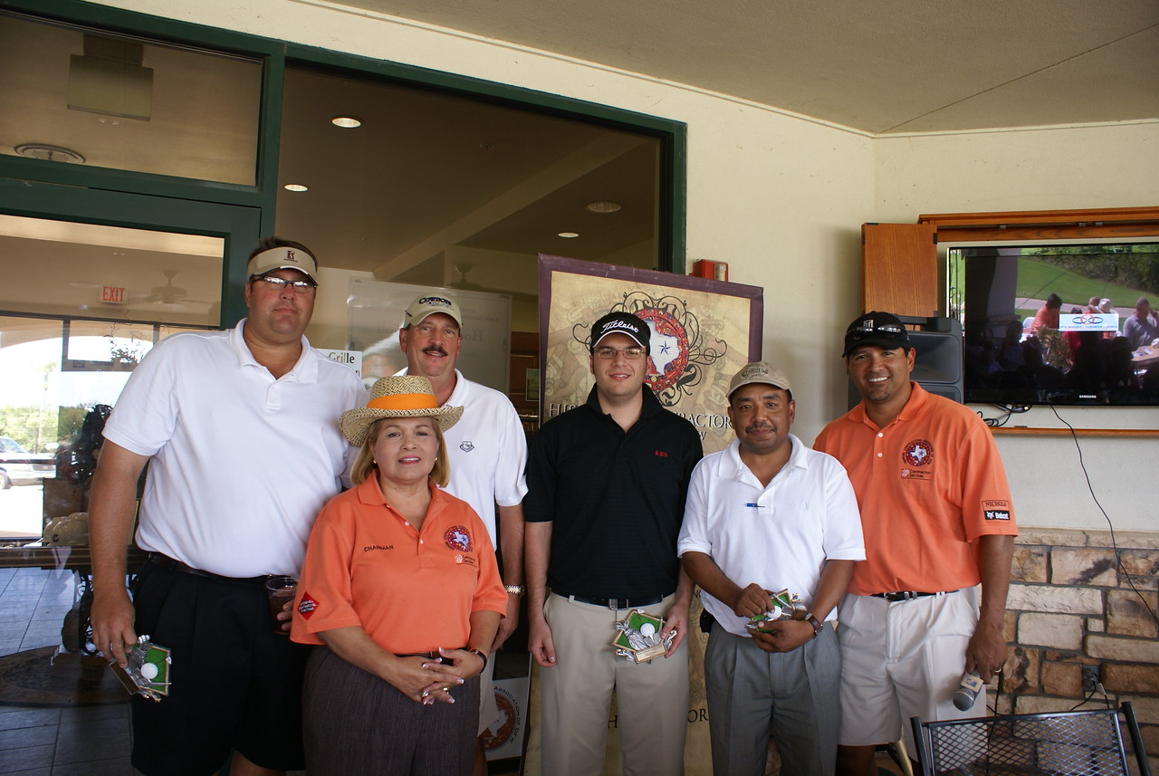 Black Contractors Associaton Team Takes home 3rd Place: Gary Taylor, Stan Taylor, Erik LaRue (Hensel Phelps); Padmendra Subba (Lawrence Engineering); with HCADFW Golf Chairman Ruben Duron and HCADFW Chairman Pat Gorman