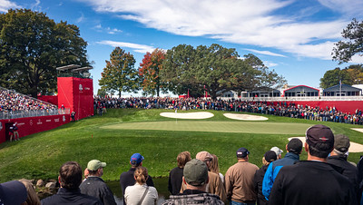 Par-3 8th hole at Hazeltine National, Ryder Cup 2016.