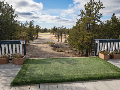 The 14th tee box is literally on the clubhouse patio at Yellowknife Golf Club