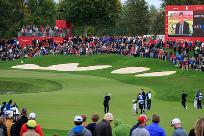 Henrik Stenson hits it stiff to the 16th green. Ryder Cup, Hazeltine National Golf Course.
