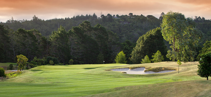 Par 4 sixth hole at North Shore golf course, Auckland