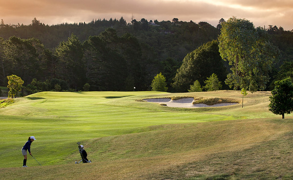 Approach shot on the par 4 sixth hole at North Shore golf course, Auckland