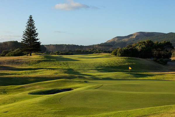 Looking back up the 18th at Muriwai ,late afternoon,