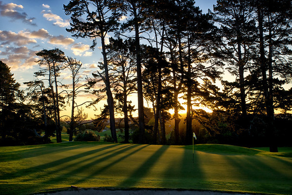 10th green at Remuera GC, sunset