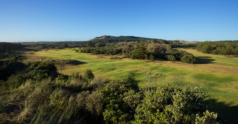 The bumpy fairways of Muriwai's links layout on the back nine