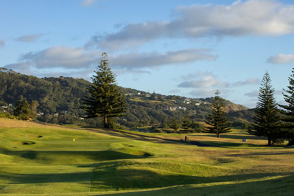 18th green at Muriwai, evening