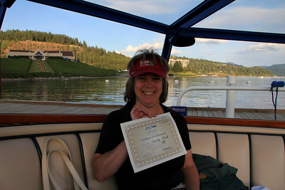 The Couer d'Alene Resort, Couer d'Alene, ID - Sandy on boat to Hotel - with Certificate for hitting floating green and getting par