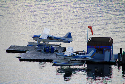 The Couer d'Alene Resort, Couer d'Alene, ID - View of planes from the boardwalk at the resort hotel