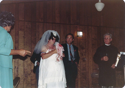 Bob Williams is (I think) the mother of the bride; Frank McGrath the pregnant bride, Beryl Allen the groom, and Buford Foster the preacher.  Behind the bride is the shotgun toting father Jerry Eidson.