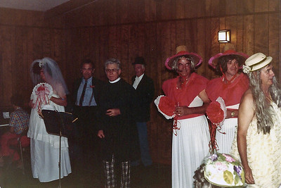 Most of the wedding party.  Frank McGrath, Beryl Allen, Buford Foster, Jerry Eidson, C.C. Blair, Bob Furkin, and Hap Hasker.