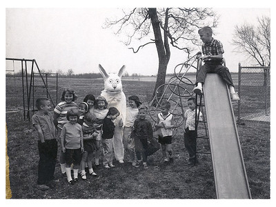 This image is from 1966 or 1967 and shows several of what would become Lake Valley kids celebrating Easter.  This was taken at the old 9-hole course at the airport prior to Lake Valley being established.  The next image shows the names and positions of the kids.  One of the notable figures is Phil Morgan who is leaning against the slide ladder and is now a member at Lake Valley himself.  Thanks to Dan and Carol Stone for sharing this picture and information.
