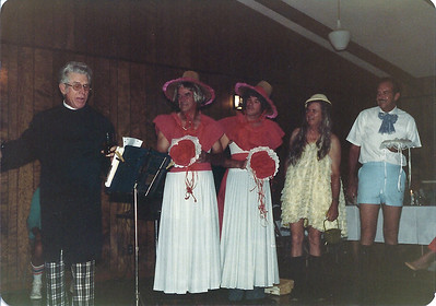 "I'm not sure what the occasion was, but for some reason we had a shot gun wedding at Lake Valley.  These pictures are dated October 1981 and came to me recently from Maurice Niemann's wife.  Maurice passed away not long ago and his wife thought we should have these.  Thanks Jeannie!  Left to right:  Preacher is Buford Foster.  Buford owned Lake Park, which was the marina and campground located where Cedar Glen condominiums now stand.  C.C. Blair and Bob Furkin were bridesmaids.   C.C. was the first board President at Lake Valley and led us through 4 years of growth.  Furkin was an assistant pro here under Bill Whitfield.  Hap Hasker was what I would guess as the flower girl, and Maurice Niemann, all 6'5"" of him, was the ring bearer."