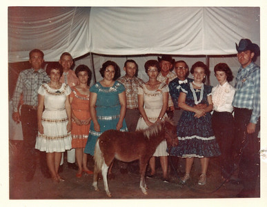 The Western BBQ.   The pony was given away as a prize.  The couple on the far left is Beryl and Mariannette Allen.