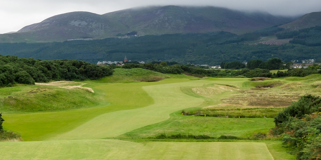 The fairway of the 16th hole at Royal County Down Golf Club