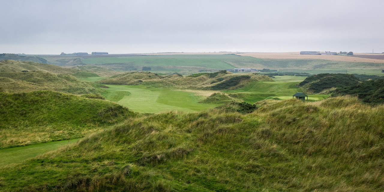 The slightly-terrifying view from the 5th tee box at Cruden Bay