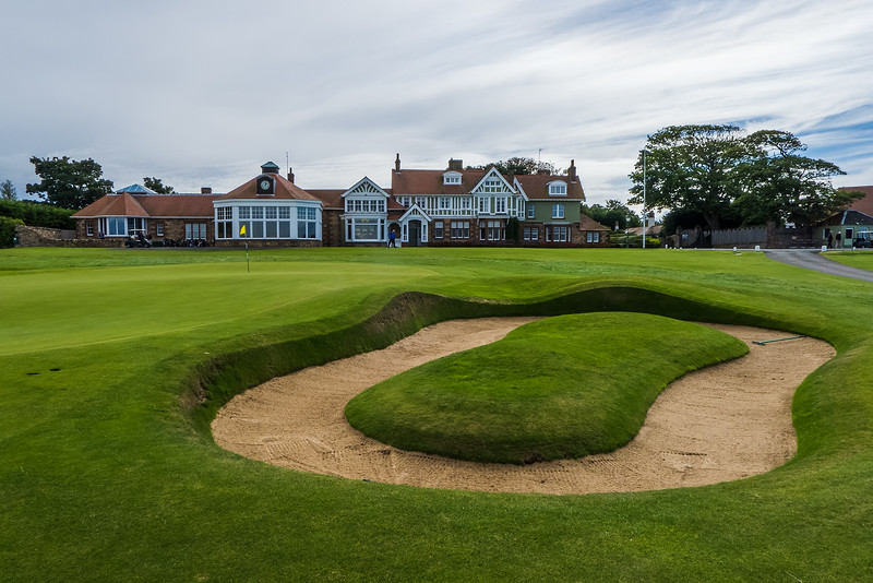 The 18th green and clubhouse at Muirfield