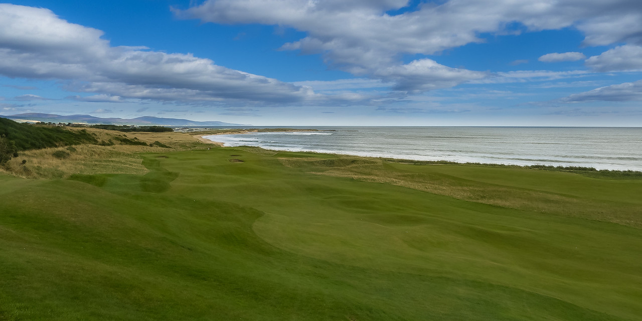 the 8th fairway and green at Royal Dornoch Golf Club