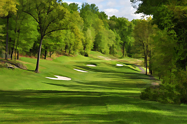 PORTRAIT  VIEW FROM THE FRONT TEE BOX OF THE REDESIGNED 7TH HOLE WHICH IS NOW A PAR 4 WITH AN ELEVATED GREEN.