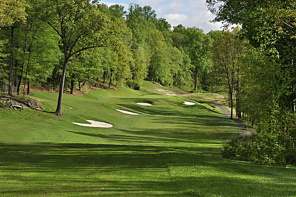 HERE IS THE VIEW FROM THE FRONT TEE BOX OF THE REDESIGNED 7TH HOLE WHICH IS NOW A PAR 4 WITH AN ELEVATED GREEN.