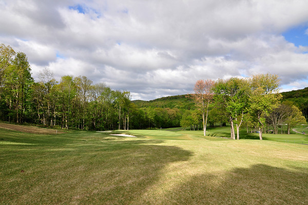 VIEW FROM THE NEWLY DESIGNED 3RD HOLE PAR 3 DOWNHILL FROM THE BACK TEES.