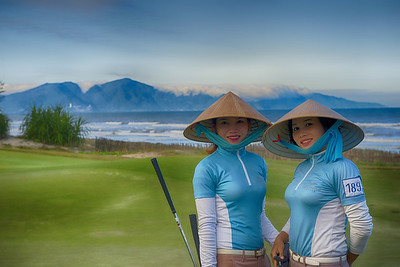 Delightful caddies at Danang Golf Club, Vietnam