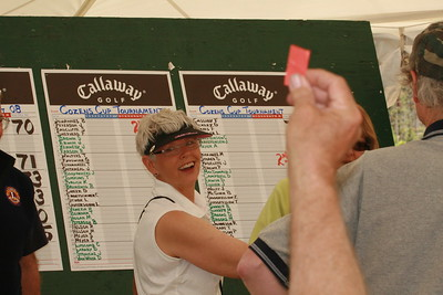 Marie Johannes showing a happy moment in the golf tournement.